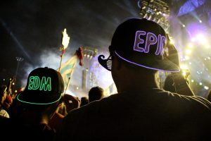 EDM partiers in EDM caps