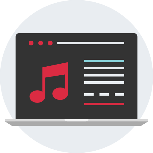 Image icon of a music laptop