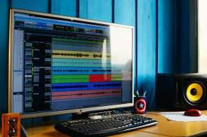 Desktop with audio recording software