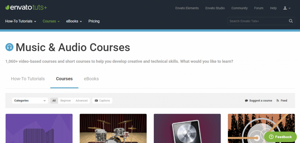 Tutsplus music and audio engineering courses screenshot