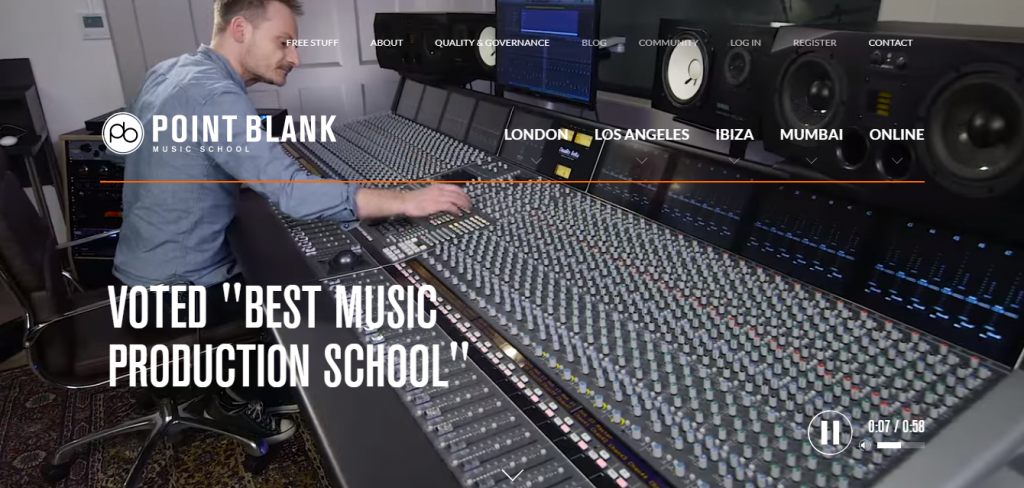 Point Blank Music School website screenshot