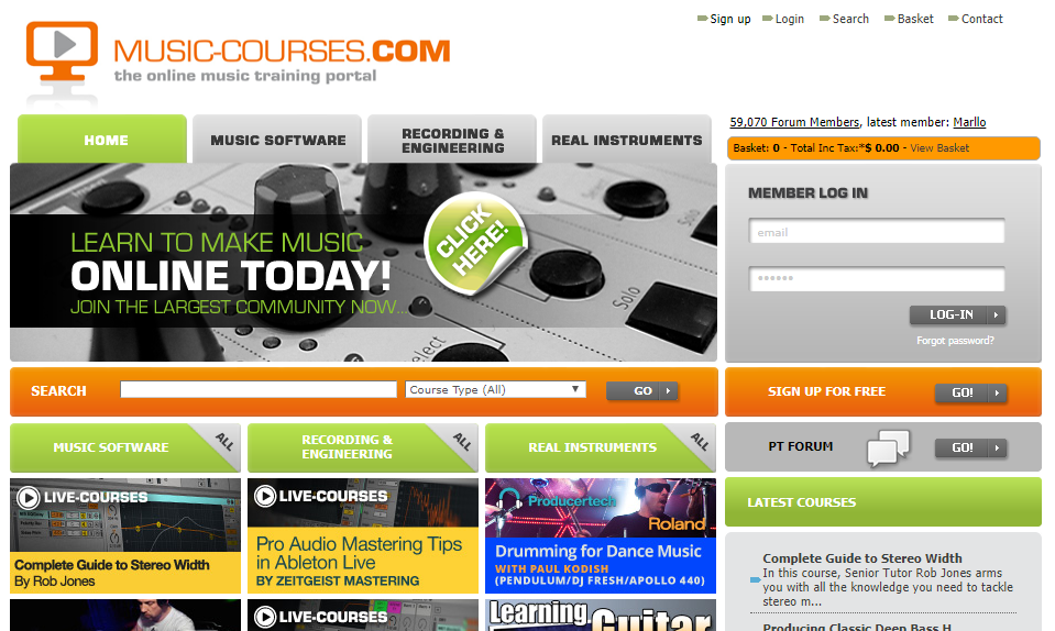 Music-courses.com website screenshot