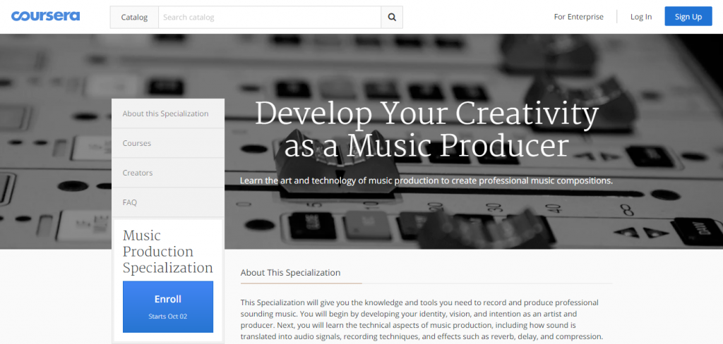 Coursera music production course screenshot